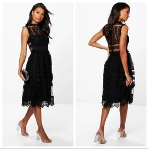 boohoo Crochet High Neck Midi Dress Black 4